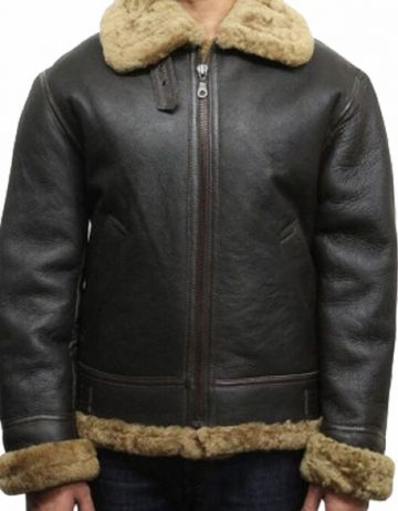 mens aviator b3 world war2 real shearling sheepskin flying jacket austin