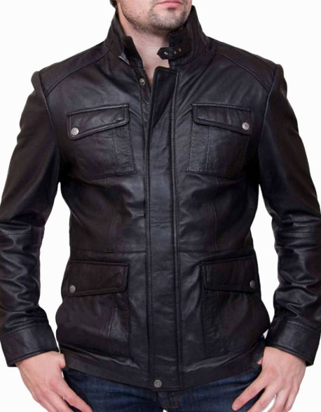 Men's 4 Pockets Black Leather Biker Jacket (2)
