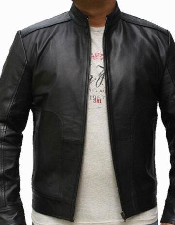 Wave leather jacket