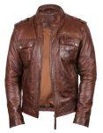 mens leather biker jacket brown