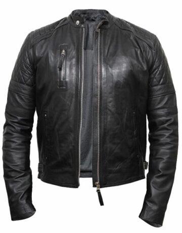 mens lleather biker jacket burgundy