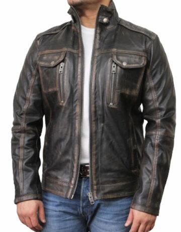 mens black biker leather jacket allan