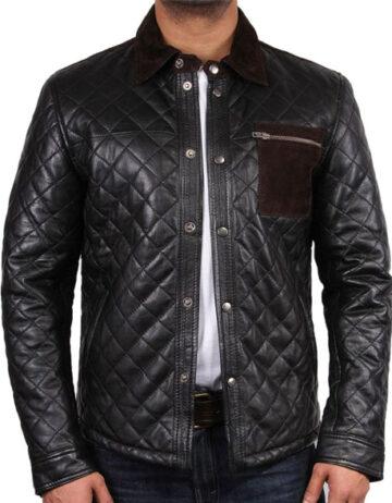 Men black leather jacket black