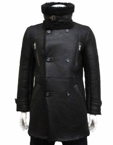 mens luxury sheepskin long duffle coat