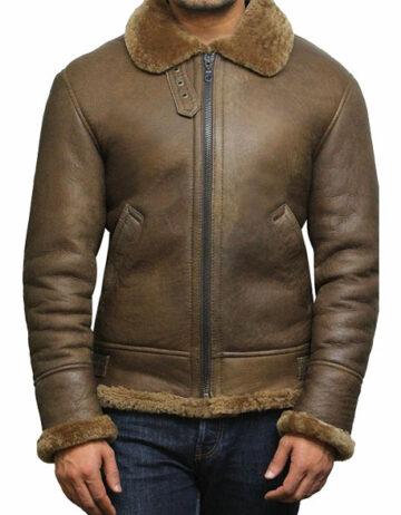 men aviator soft shearling sheepskin leather bomber flying jacket
