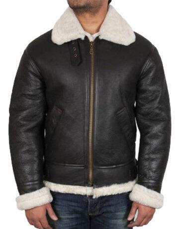 men real shearling sheepskin leather flying jacket
