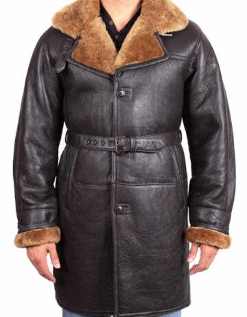 men shearling sheepskin duffle coat