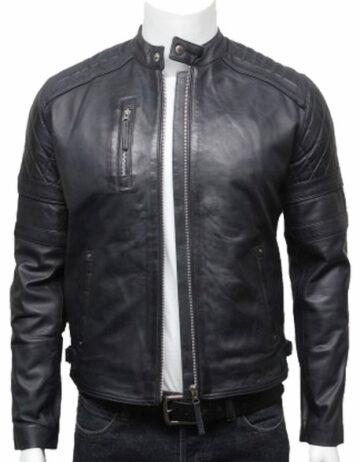 mens classic leather biker bomber jacket navy blue