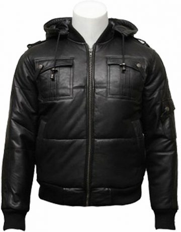 mens classic retro puffed leather biker jacket black