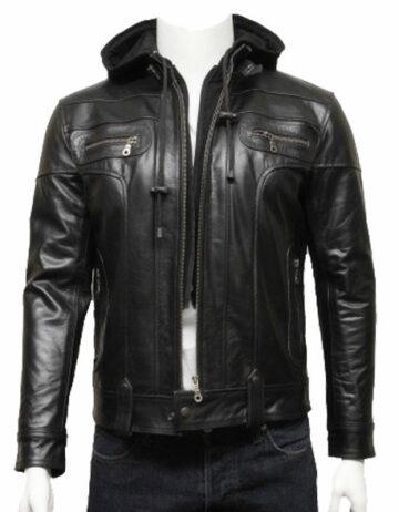 mens hooded leather biker bomber jacket black