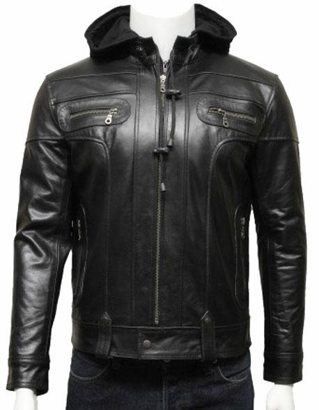 mens-hooded-leather-biker-bomber-jacket-black-4