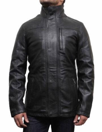 mens leather biker parka jacket coat designer style