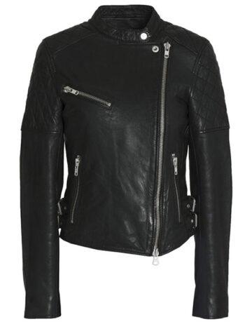Petite Snap Neck Leather Moto Jacket