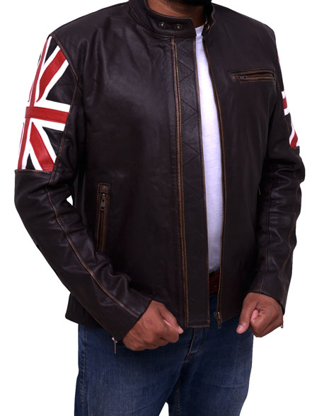 Mens UK Flag Motorcycle Leather Jacket