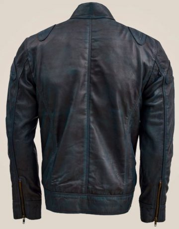 Blue Leather Jacket with Reddish Shade