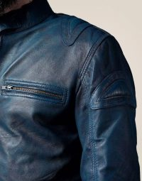 Blue Leather Jacket with Reddish Shade (2)