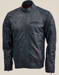 Blue Leather Jacket with Reddish Shade (3)