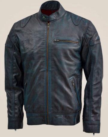 Blue Leather Jacket with Reddish Shade
