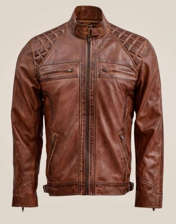 Classic Brown Waxed Leather Jacket