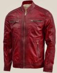 Men's Vintage Maroon Leather Jacket