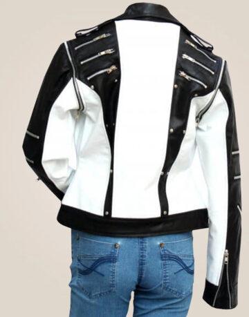 Michael Jackson Black & White WOMEN'S Pepsi Leather Jacket