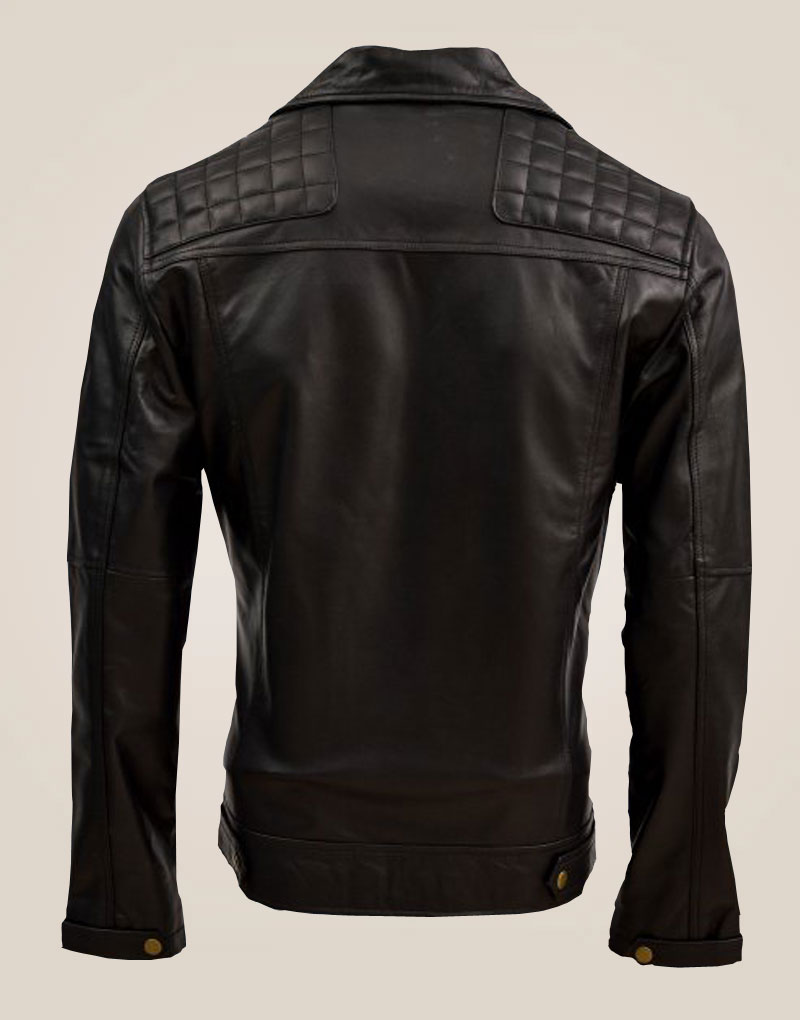 Quilted Men's Soft Black Sheep Leather Jacket