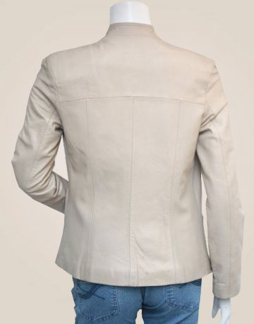 Slim Designer Cream Leather Jacket Women