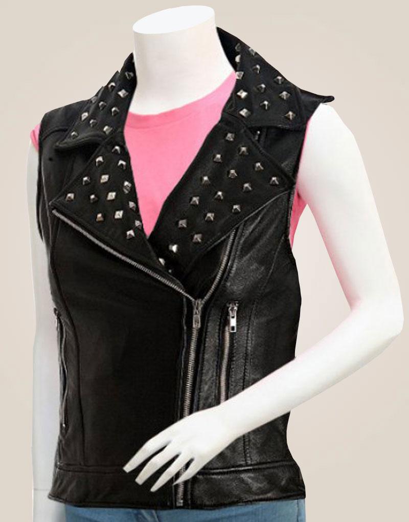 Studded Black Women Leather Motorcycle Vest