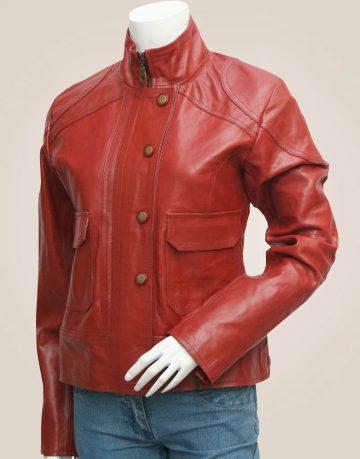 Women's Lovely Antique Style Maroon Leather Jacket
