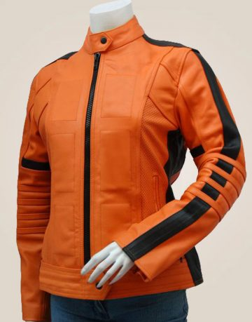 Women's Orange Leather Jacket