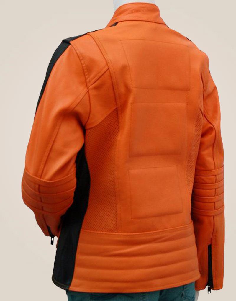 Women's Orange Leather Jacket